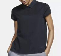 Nike Flex Golf Polo Shirt Short Sleeve Sheer Lightweight Women Sz L Black NWT$75