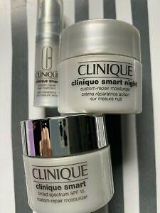 Clinique 3-Piece SMART Travel Set * DAY SPF 15, NIGHT & EYE Custom Repair