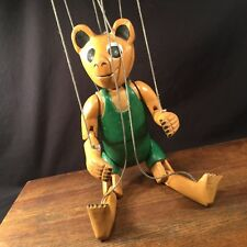Vintage Marionette Puppet Bear Wood Carved Painted Priority Mail
