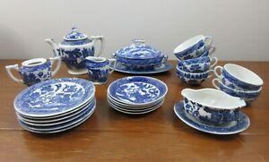 Child's Toy China Dish Set - Blue Willow - 25 Pcs - Made in Japan - Matching Pcs