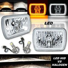 "7x6"" Switchback White Halo DRL Amber Turn Signal Angel Eye H4 LED Headlight Pair"