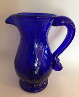 Pairpoint Cobalt Blue Glass Small Footed Creamer Pitcher 5""