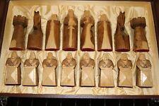 Vintage hand carved Templar Knights chess set,original case, antique