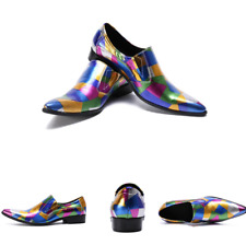 Men's British Real Leather Shoes Pointy Toe Business Work Oxfords Slip on Party
