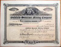 Goldfield Somerset Mining Co. - Arizona/San Francisco, CA 1906 Stock Certificate