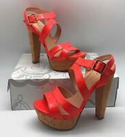 Shi by Journeys Womens Kali Platform Chunky Cork Heeled Sandal Coral Orange, 6.5