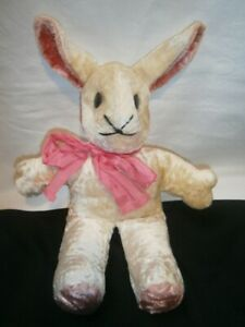 37cm VINTAGE HAND MADE 1930's /1940's SILK PLUSH TOY RABBIT WITH METAL EYES