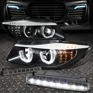 BLACK HALO PROJECTOR HEADLIGHT+CORNER+8 LED SMOKE FOG LIGHT FOR 06-08 BMW E90