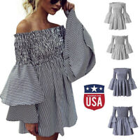 Womens Holiday Off Shoulder StripeParty Wrapped Style Dress Long Sleeve Dresses
