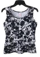 212 COLLECTION Women's Nylon Sleeveless Tank Top Sz XS Black & White Floral