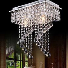 House Flush Mount 2-Light Crystal Chandelier Ceiling Pendant Fixture Lighting