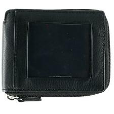 New CTM Men's Leather Zip-Around Wallet with Exterior ID Window
