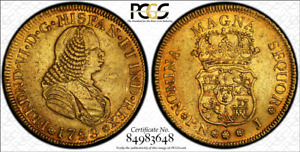 G025 Very rare COLOMBIA. 1759-J 4 Escudos gold. Popayan mint.  PCGS AU50