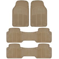4 PC Beige Heavy Duty All Weather Trimmable Rubber Floor Mats 3 Row fits Van SUV
