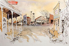 """William Papas """"Ghost Town - Shaniko, Oregon"""" Hand Colored Fine Art Etching, OBO"""