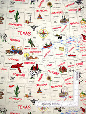 All 50 States USA State Landmark Motif Map Cotton Fabric Traditions By The Yard