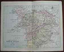 Antique colour map counties North Wales late Victorian George Philip - Railways