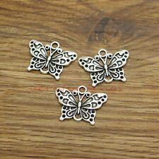 B103//2 Large Antique Silver Butterfly Charm Pendant 57x56mm Pack of One