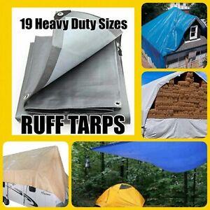 12 MIL HEAVY DUTY TARP Reversible Reinforced Canopy Tarp Tent Car Hay Roof Boats