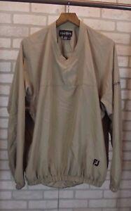 FootJoy Mens Beige Tan Golf Jacket Long Sleeve Shirt Pullover FJ L Large Khaki