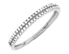 10K White Gold Two Rows Prong Set Diamonds Engagement Wedding Bridal Band .15ct