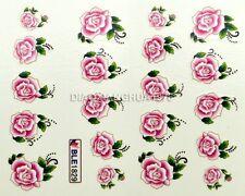 New 3D Design Pink Rose Flower Nail Art Water Ttransfers Stickers Decals B1829#