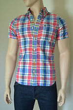 NEW Abercrombie & Fitch Kempshall Mountain SS Shirt Blue Pink Plaid M RRP £68