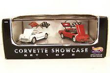 HOT WHEELS SET ~ CORVETTE SHOWCASE ~ 1953 WHITE ~ 1982 RED ~ 1/64