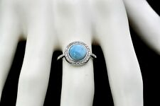 Larimar & white Topaz  Combination Natural Solid 925 Sterling Silver Ring Size 7