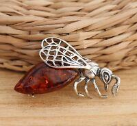 Cognac Baltic Amber 925 Sterling Silver Bee Animal Brooch Pin  Jewellery