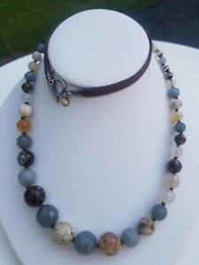 Chan Luu Sterling & Faceted Pastel Semi-Precious Stone & Leather Necklace