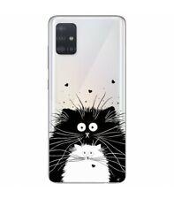 Coque Galaxy A71 Chat coeur love noir transparent