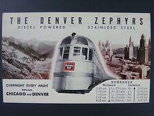 Denver Zephyrs Burlington Route Railroad Ad Schedule Mid Century Postcard 1930s