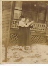 Edwardian Fashion Girls Dancing Together In The Snow Vintage 1910s Photo