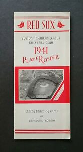 Boston Red Sox 1941 Spring Training Player Roster Guide - Ted Williams