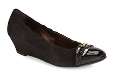 AGL Medallion Wedge Suede Pump Black Women Sz 36 M