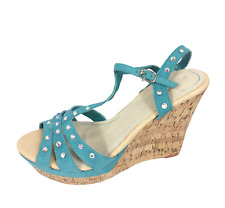 Womens Ladies Blue Faux Suede High Wedge Heel Shoes Sandals Size UK 7 New