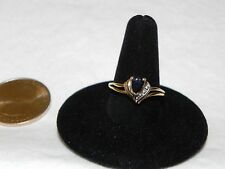 14K Solid Gold Pair Shaped London Blue Topaz/Diamond Ring Size 6.5