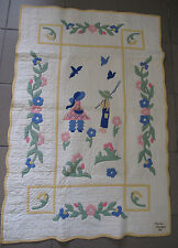 Quilt Baby hand made appliqué 1936 Boy Girl Fishing museum quality maker tag
