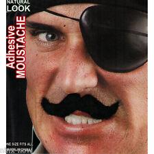 Men's Black Fake Handlebar Moustache Fancy Dress Costume Accessory