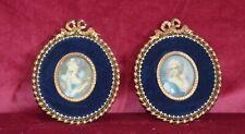 Antique Miniature Portrait Paintings in Velvet & Gilt Brass Frames Pair of