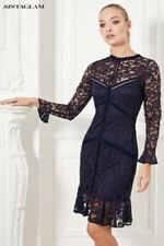 SISTAGLAM SIZE 12 NAVY ALL OVER LACE STRETCH DRESS JESSICA WRIGHT / LIPSY /NEXT