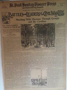 1911 Vintage Newspaper Marching With Sherman Civil War Jefferson Davis