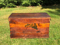 Antique Vintage Fish Crate Wood Chest Box Bay State Fishing Co. Boston With LID