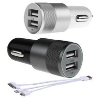Dual 2.1A+1A 2 Port USB Car Charger Adapter 3in1 Cable For iPhone 4 5 6 Samsung