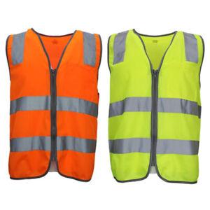 Hi Vis Safety Vest Reflective Tape Zip Up Workwear Pocket Night High Visibility