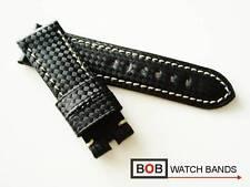 Nuevo Bob echtlederuhrband Carbon para breitdornschliesse negro 24 mm costuras blancas