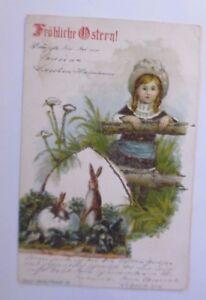 Ostern, Kinder, Mode, Hase, Osterei,   1901, Glitzerkarte ♥ (62992)