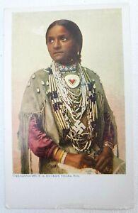Vintage antique Postcard Indian Native American IROQUOIS Women Beads Swastika