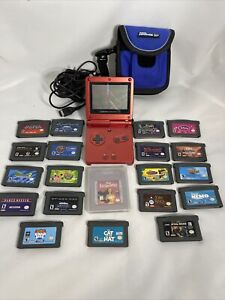 Nintendo Gameboy Advance SP Red GBA SP Handheld System, Charger & 20 Games Lot